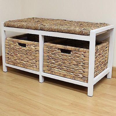 Hartleys Farmhouse Bench Seat Storage Baskets Hallway Bathroom Wicker Cushion