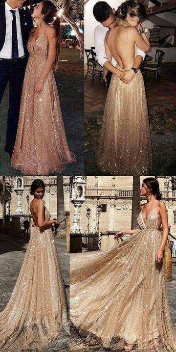 Robe de bal longue or scintillant, robe de bal 2019, robe de bal sexy à encolure en V avec do...