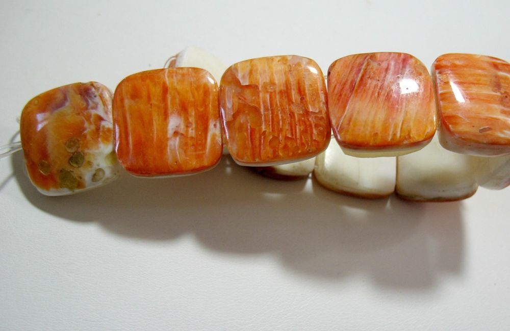 """Spiny Oyster Shell 20mm 2-Strand Rectangle Beads 8"""" Orange Natural Color"""
