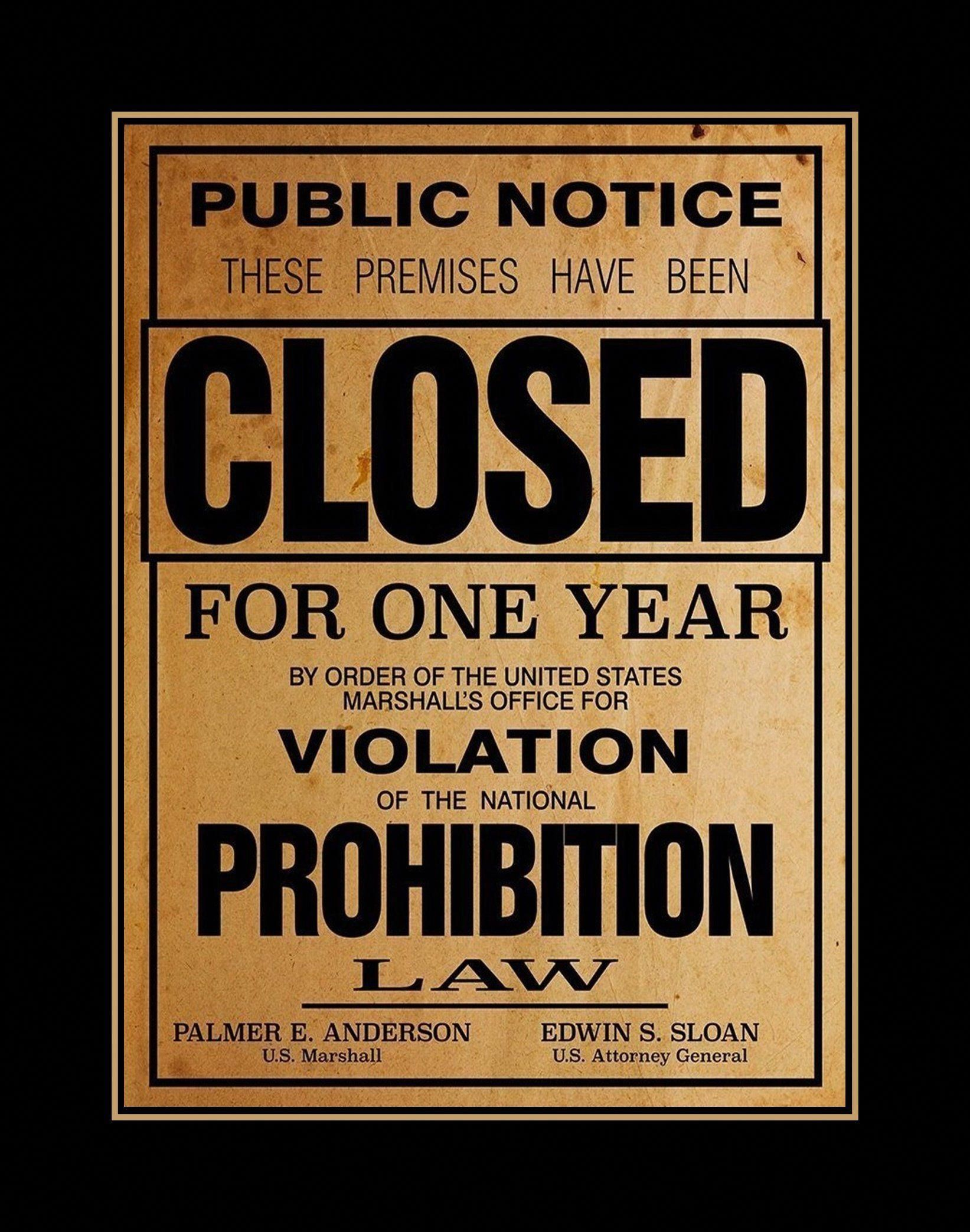 Printable Alcohol Prohibition Poster Retro Wall Art Home Bar Decor
