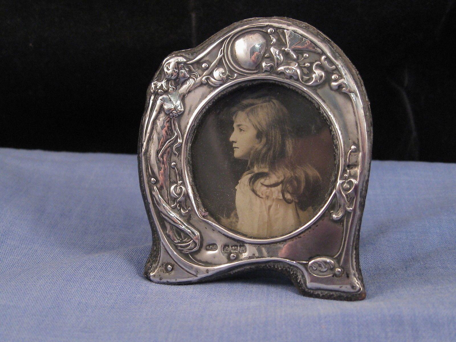 MINIATURE ART NOUVEAU ANTIQUE SILVER LADY BUTTERFLY PICTURE PHOTO ...