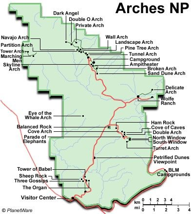 Map of Arches National Park | PlanetWare | Vacations in 2018 ...