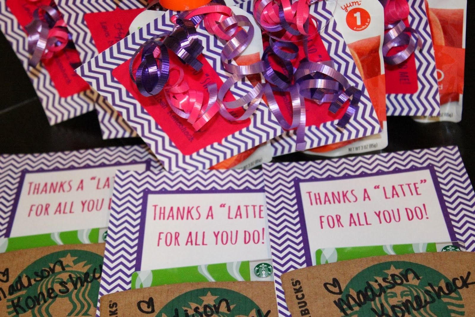 """Thanks a """"latte"""" for all you do Valentine's Starbucks card holders"""
