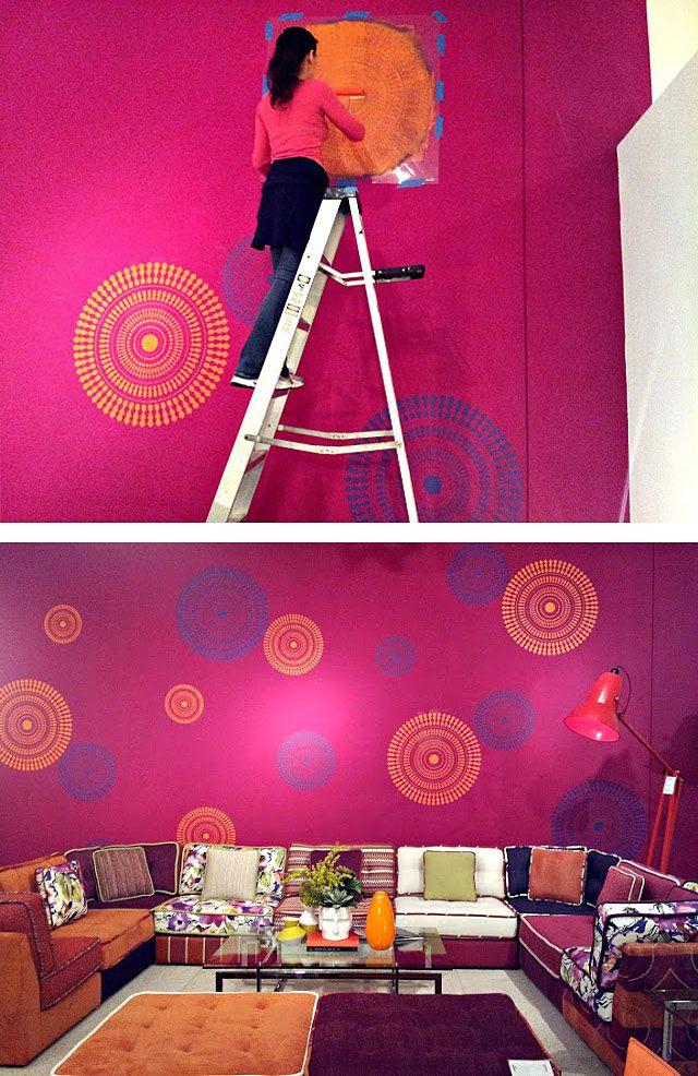 Geometric Wall Art Stencils Pink Living Room Accent Wall