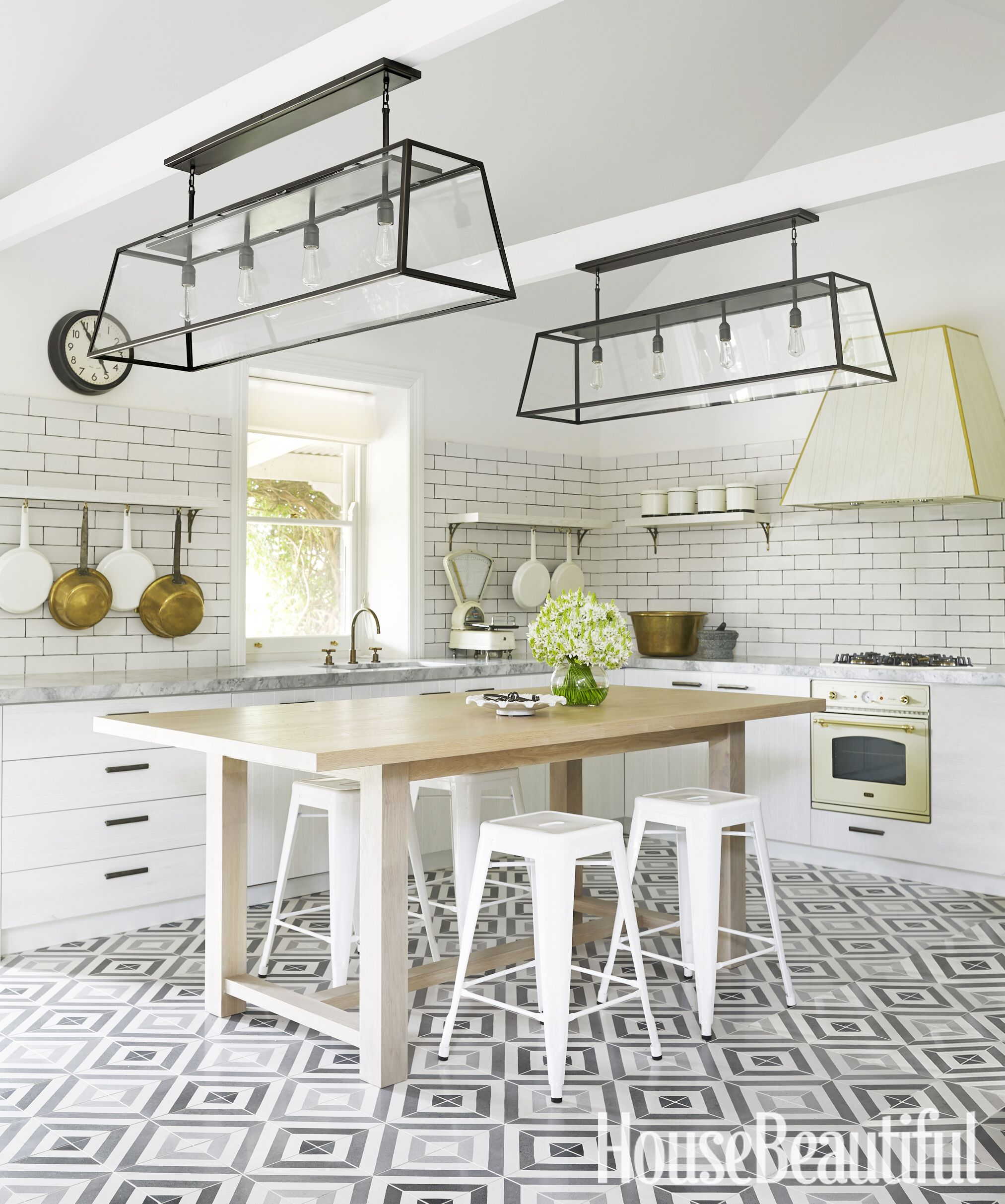 Diamond Tiles Greg Natale hung pots from cantilevered shelves and ...