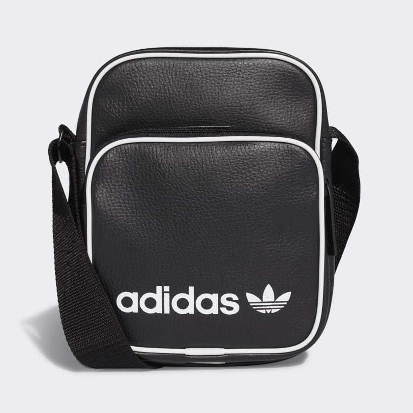 e0079edd4 Adidas Originals Side Bag Mini Vintage Black Faux Leather Flight Bag  Shoulder #adidas #MessengerShoulderBag