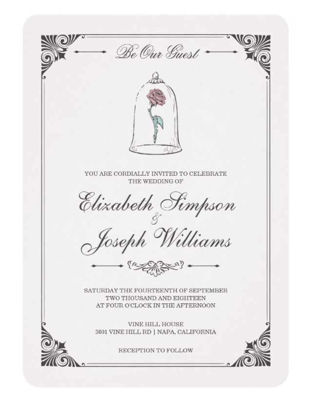 Beauty and the Beast | Enchanted Rose Wedding Invitation -   12 wedding Disney invitations ideas