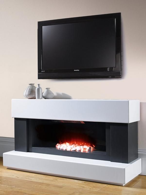 Adam Fires Fireplaces Verona White Grey Electric Fireplace Suite