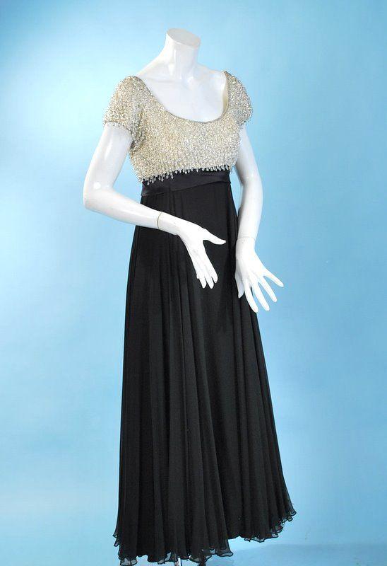 1960 fluttery Lillie Rubin silk chiffon and crystal bodice gown ...