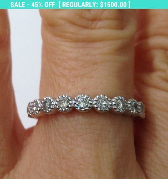 11 Diamond White Gold Wedding Band 3mm - 14K #weddingring #weddingband #diamondwedding #11stonewedding #milgrainbezelring #milgrainbezelband #diamondbezelband #diamondbezelring #engagementband #stackingring #stackingband #3mmweddingband #halfcaratwedding