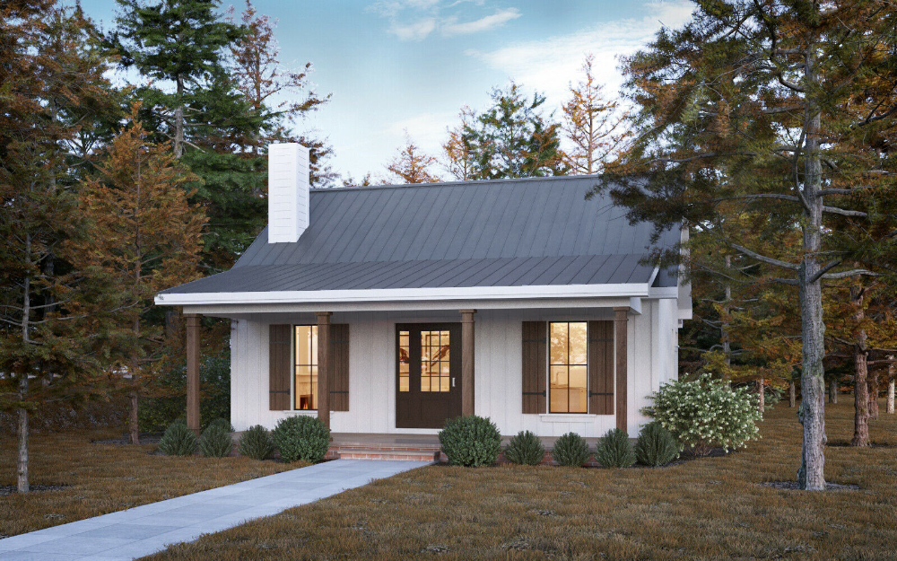 The Pioneer Home Building Plans 700 Square Feet Building Plans House Small House Exteriors Tiny Farmhouse