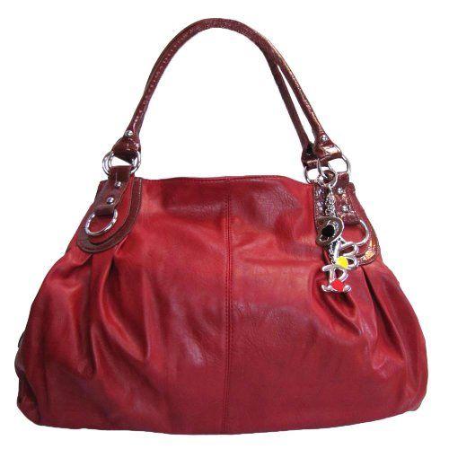 Large Charm Hobo Handbag Deep Red