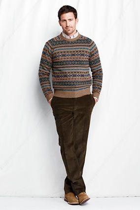 Men's Lambswool Fair Isle Crewneck Sweater from Lands' End. Men's ...