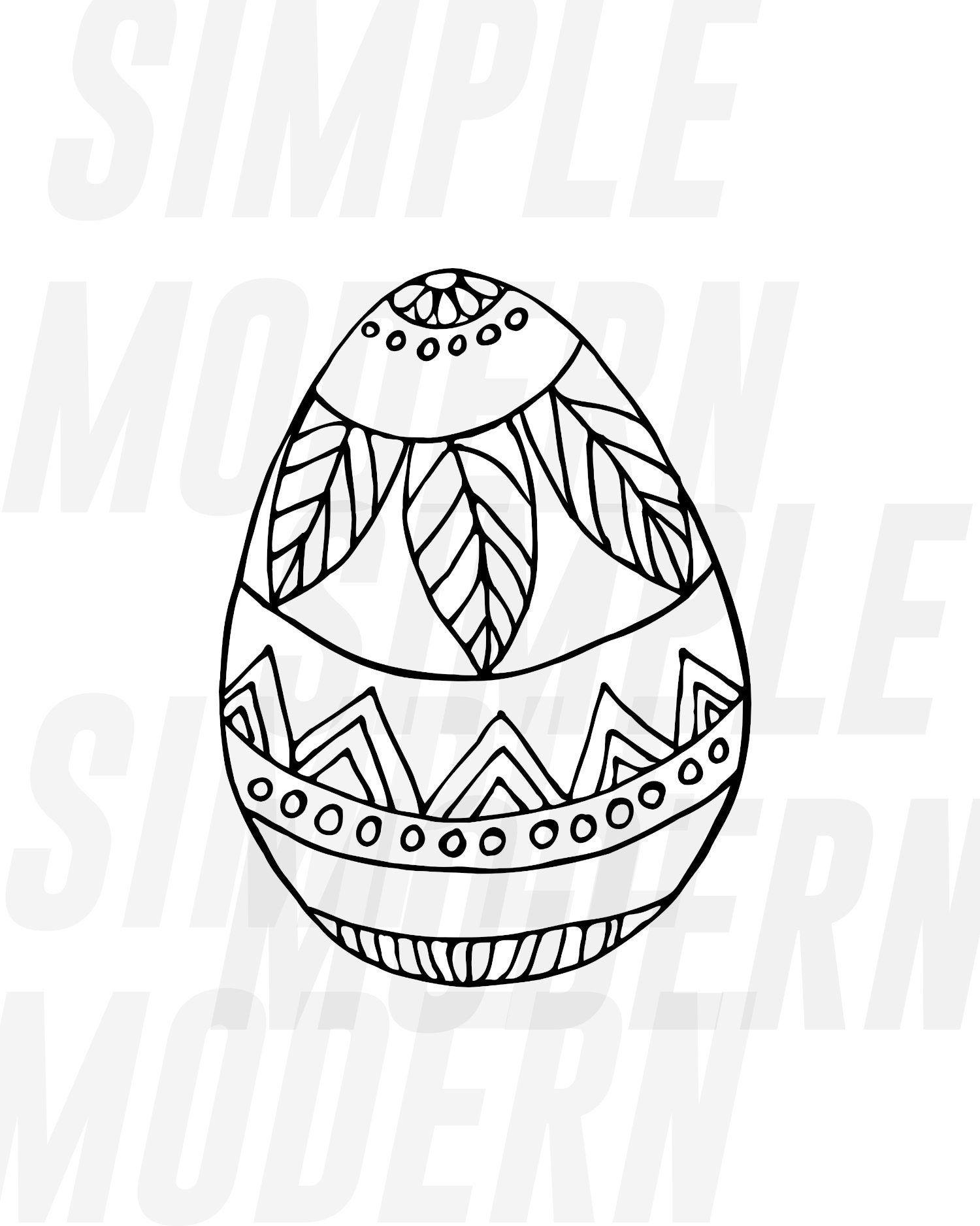 Easter Egg Svg Boho Easter Svg Black And White Hand Drawn Etsy Easter Svg Easter Eggs How To Draw Hands