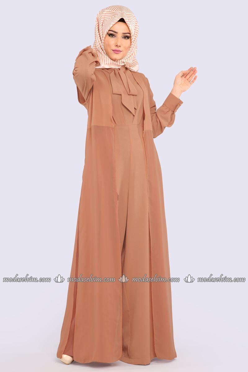 Moda Selvim Yelekli Tulum Kombin 6537m108 Koyu Somon Fashion Dresses Jumpsuit