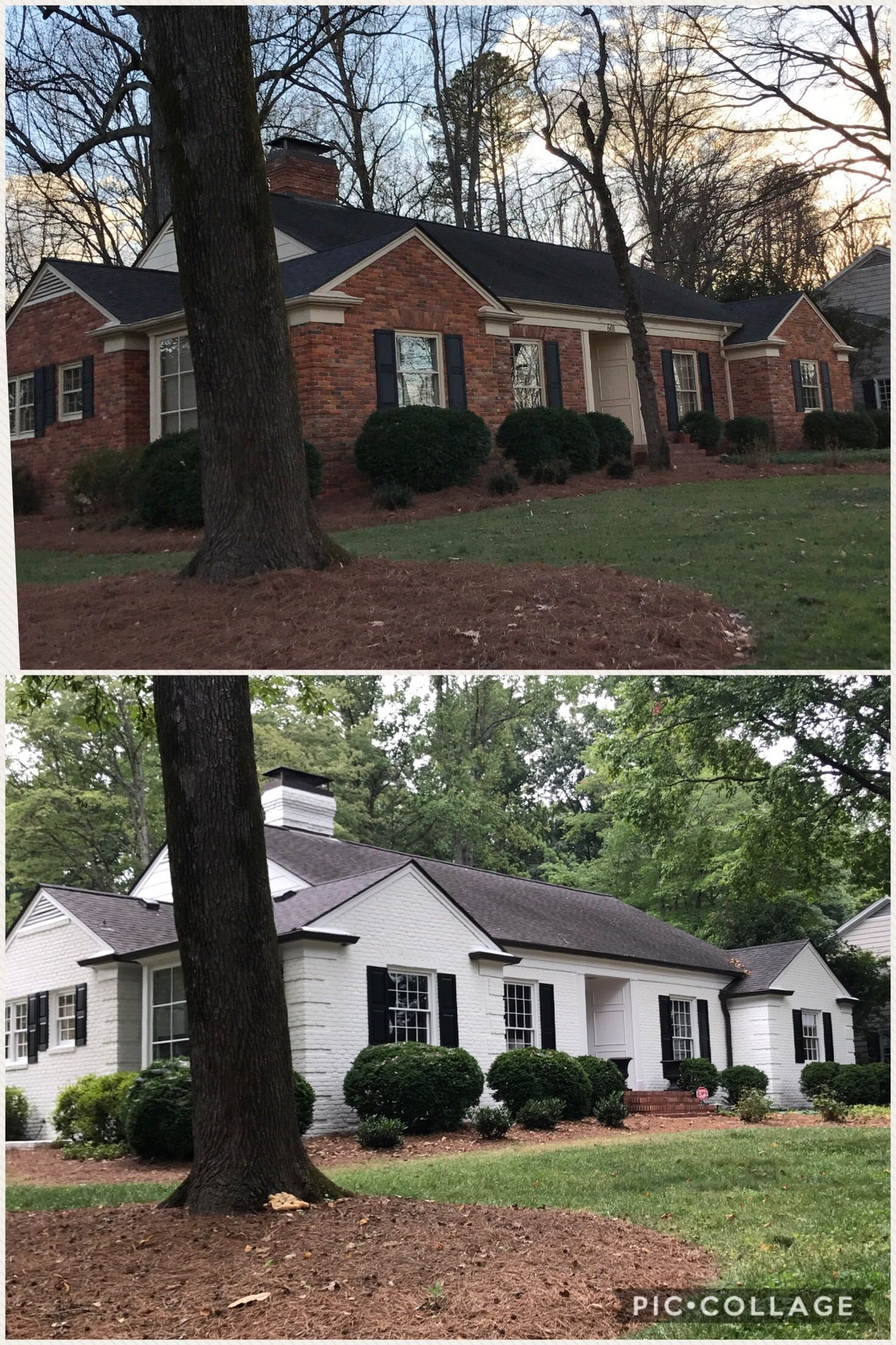 Before After Sw Alabaster Painted Brick House Brick Exterior House Home Exterior Makeover