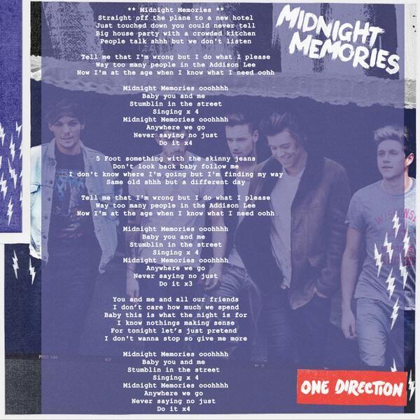 One Direction On Twitter One Direction Lyrics One Direction Songs Midnight Memories Lyrics