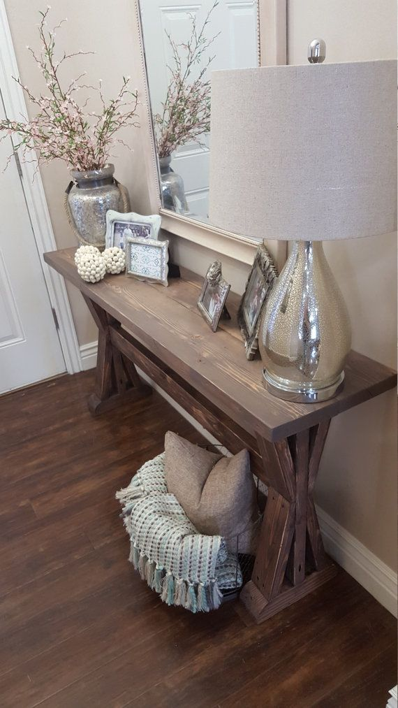 Rustic farmhouse entryway table by modernrefinement on for Living room table decorating ideas