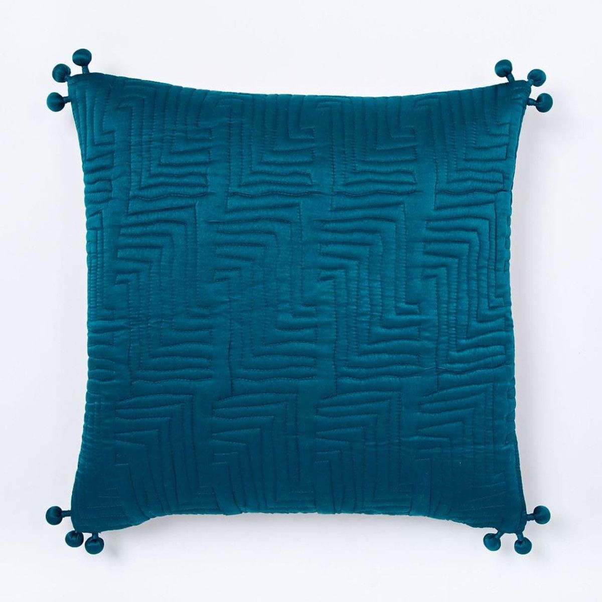 Washed Silk Quilted Cushion Cover - Blue Teal