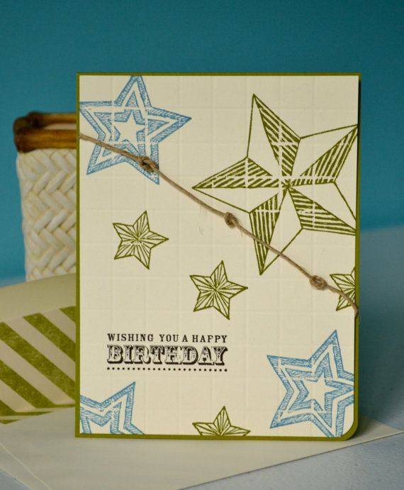 Stars Happy Birthday Card by TheRoundedCorner on Etsy, Stampin up