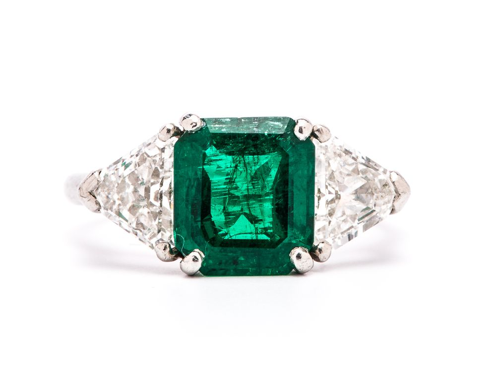 Emerald from Trumpet And Horn, one if my favorite stones.  trumpetandhorn.com/vintage-engagement-rings.html