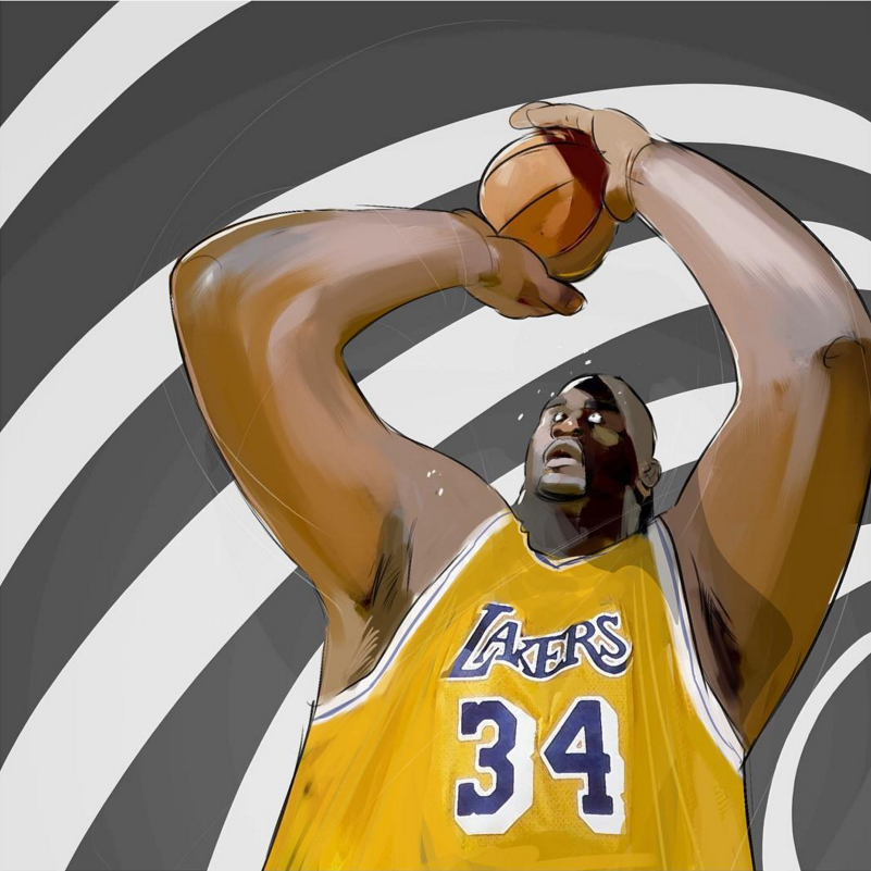 Shaquille O Neal Shaqnosis Illustration Shaquille O Neal Nba Basketball Art Nba Pictures