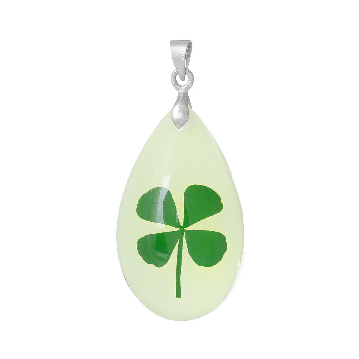Green lucky shamrock necklace four leaf clover charm emerald green - Resin Charm Pendants Teardrop Light Green Made With Real Leaf Clover Pattern Glow In The Dark X Resin Pendants Resin Pendants Flower Resin Pendants