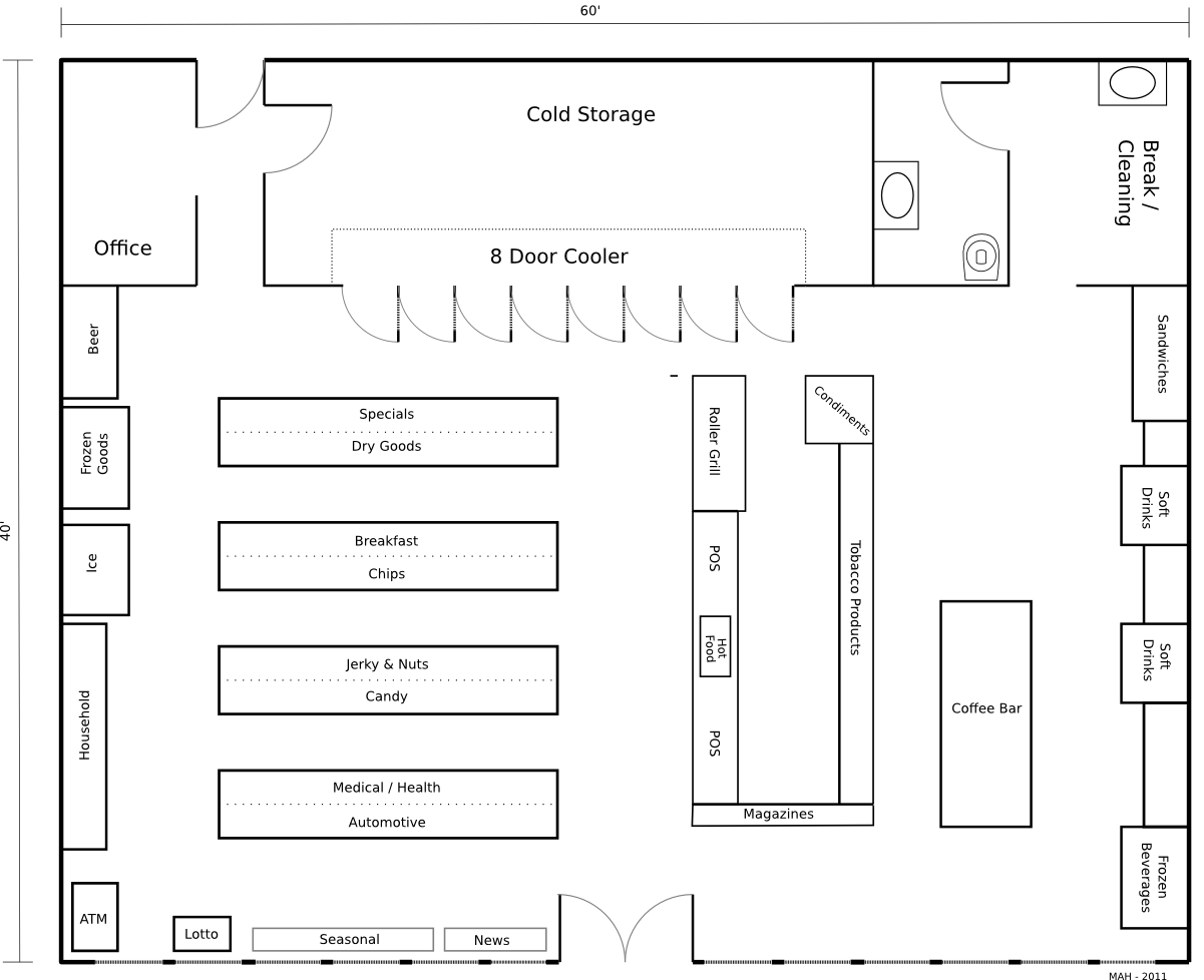 Convenience store layout floor plan convenience store for Retail store floor plan