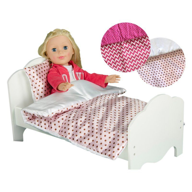 Teamson Kids Little Princess Doll Single Bed And 2 Piece Bedding Set