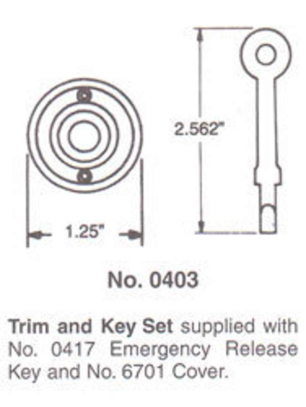 Baldwin 0403 Round Emergency Release Trim and Key Distressed Oil Rubbed Bronze Part ER Trim and Key
