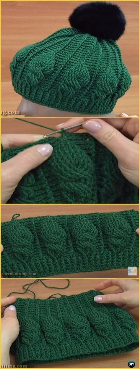 Crochet Embroidery Cable Stitch Hat Free Pattern Video - Crochet ...