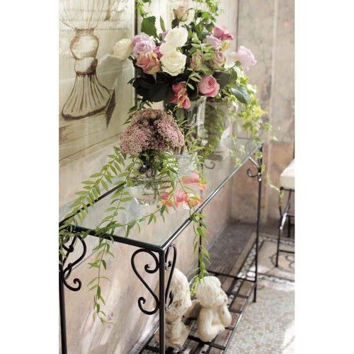 Table Console En Fer Forge Et Verre Marron L 110 Cm Home Deco Floral Wreath Decor