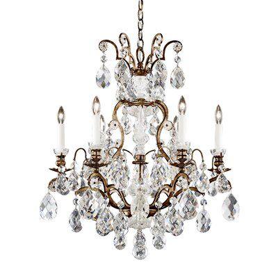 Schonbek Renaissance 7 Light Candle Style Chandelier With