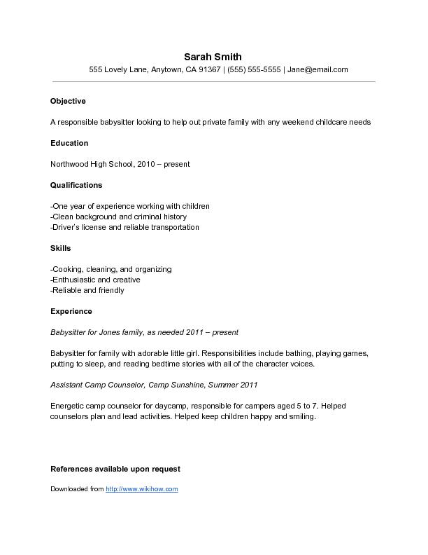 Sample Babysitter Resume Wikihow Babysitter Resume Infographic Resume Resume