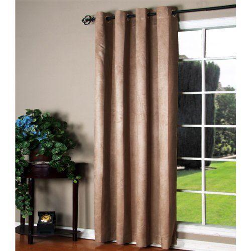 84 Long Manhattan Chocolate Faux Suede Grommet Top Curtain Panel