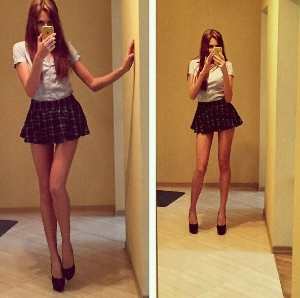 Very Long Legs And Very Short Skirt