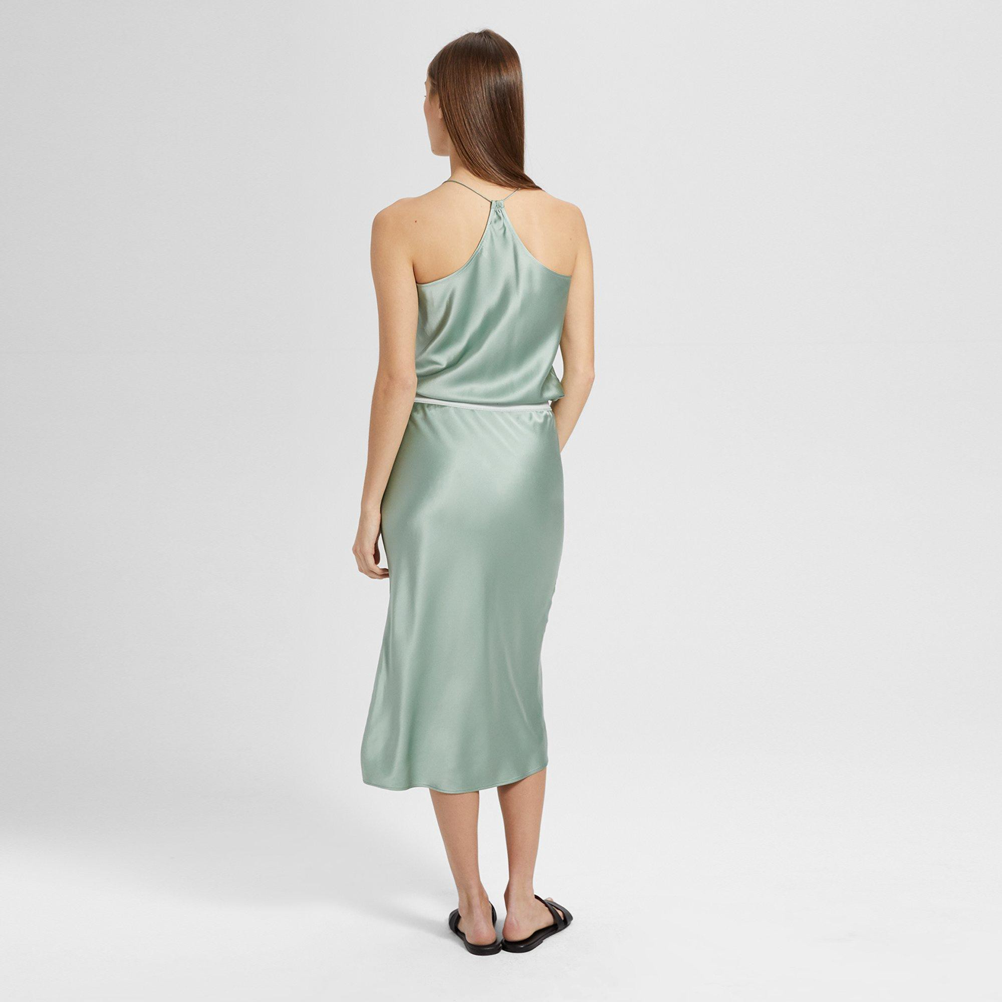 d657a6609d9 Theory Silk Satin Pull-On Slip Skirt - Light Moss P | Products ...