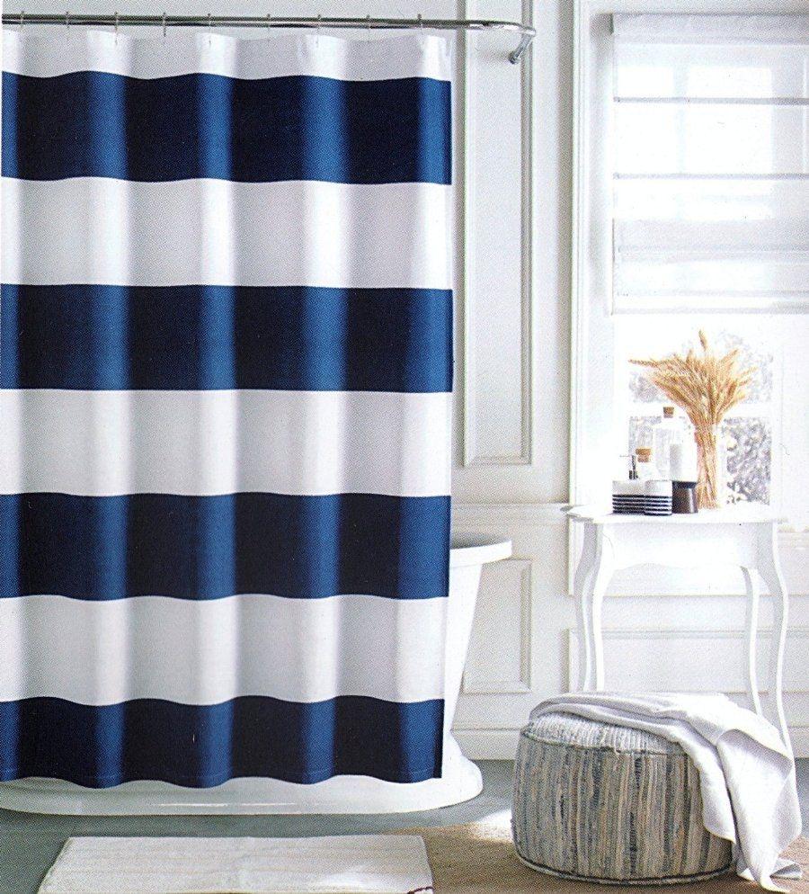 Royal Blue Bathroom Window Curtains Striped Shower Curtains