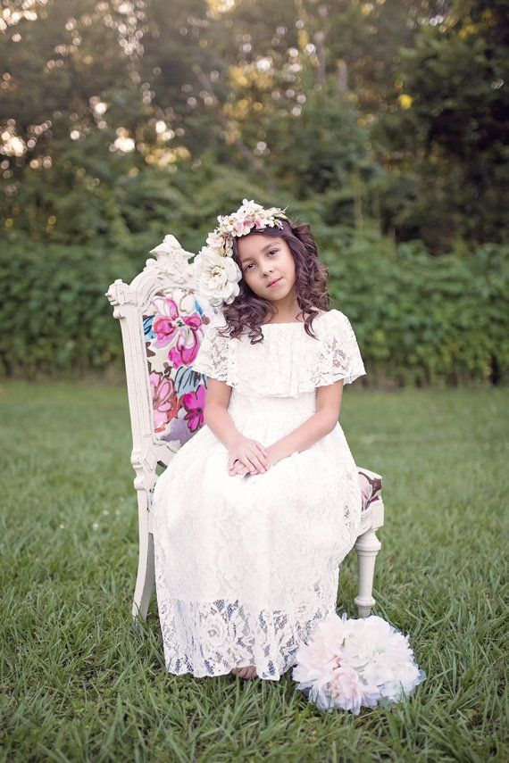 8dc938361 Girls Boho Lace Dresses, Flower Girl Dresses, First Communion Dress, White  Lace Dress, Floral Lace D