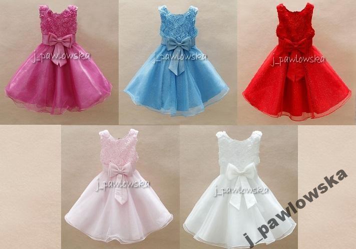 d799efe303 Elegancka sukienka z RÓŻAMI 3D 98-104 WESELE (4948617352) - Allegro.pl