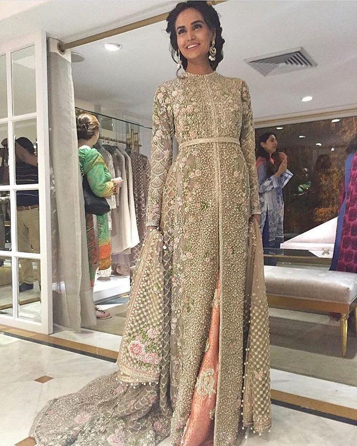Mehreen Syed in Faraz Manan | white heavily embroidered maxi bridal dress  with peach lehenga |