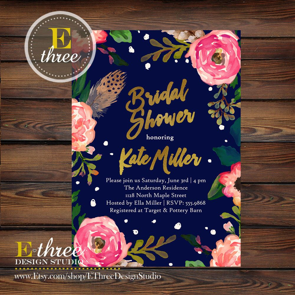 Bridal shower invitations navy gold pink coral flowers and bridal shower invitations navy gold pink coral flowers and feathers filmwisefo