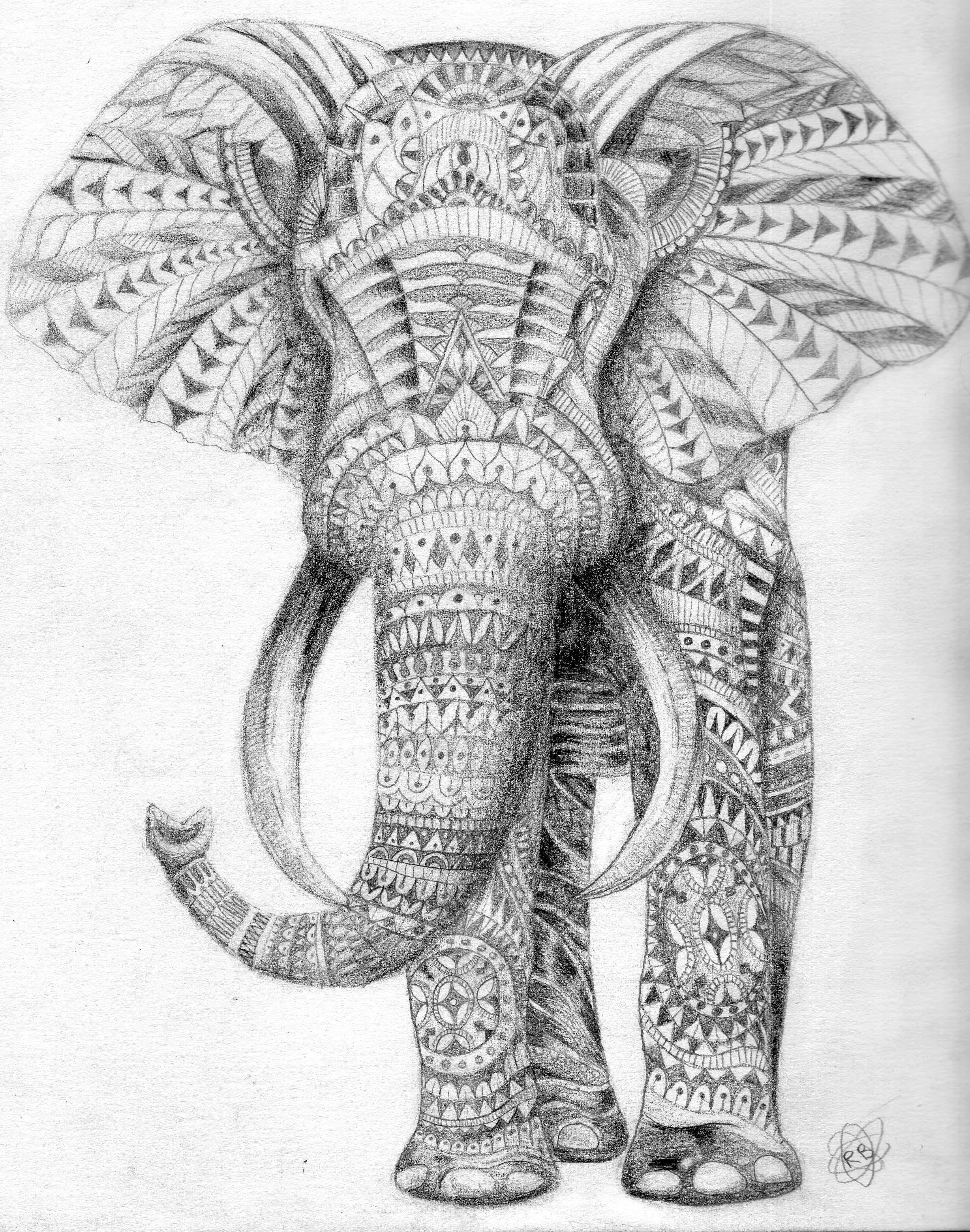 Tribal elephant | My work | Pinterest | Tribal elephant and Doodles