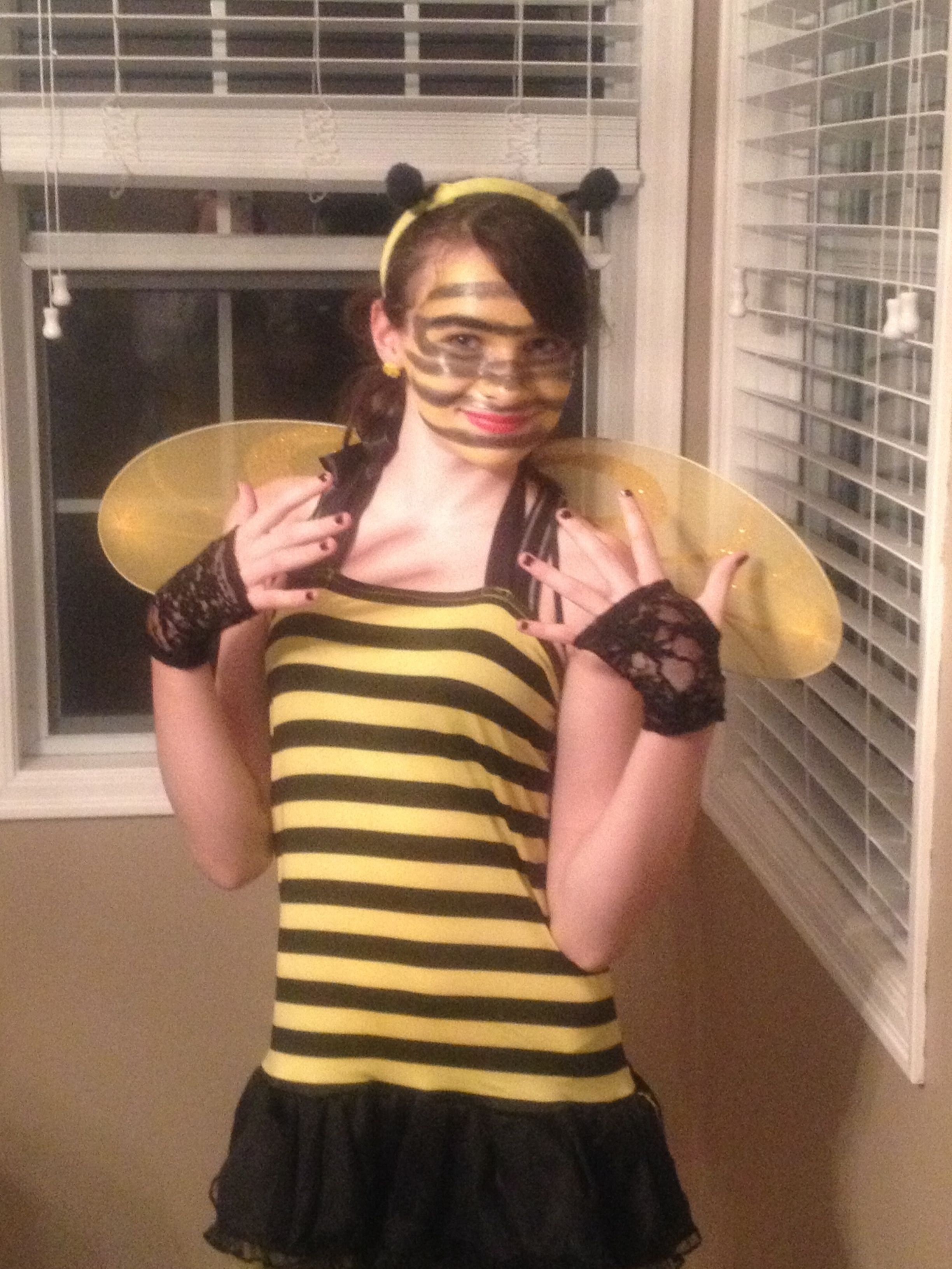 Black dress up gloves - This Is My Daughter Dressed Up As A Little Bumble Bee With A Dress