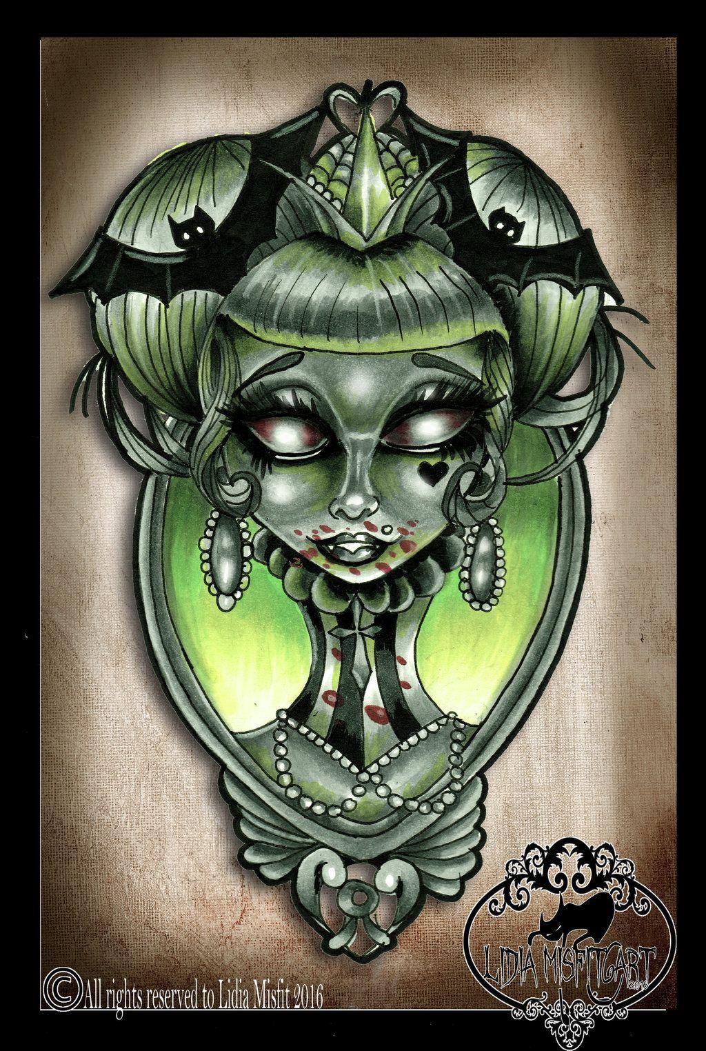 5e8cbcb0a Vampire girl tattoo flash by MissMisfit13.deviantart.com on @DeviantArt…