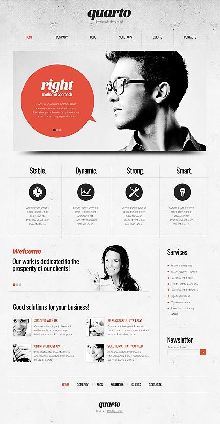 Nice clean web layout. Graphic design inspirational mockup. Love the black and white theme with a coloured accent. So beautiful