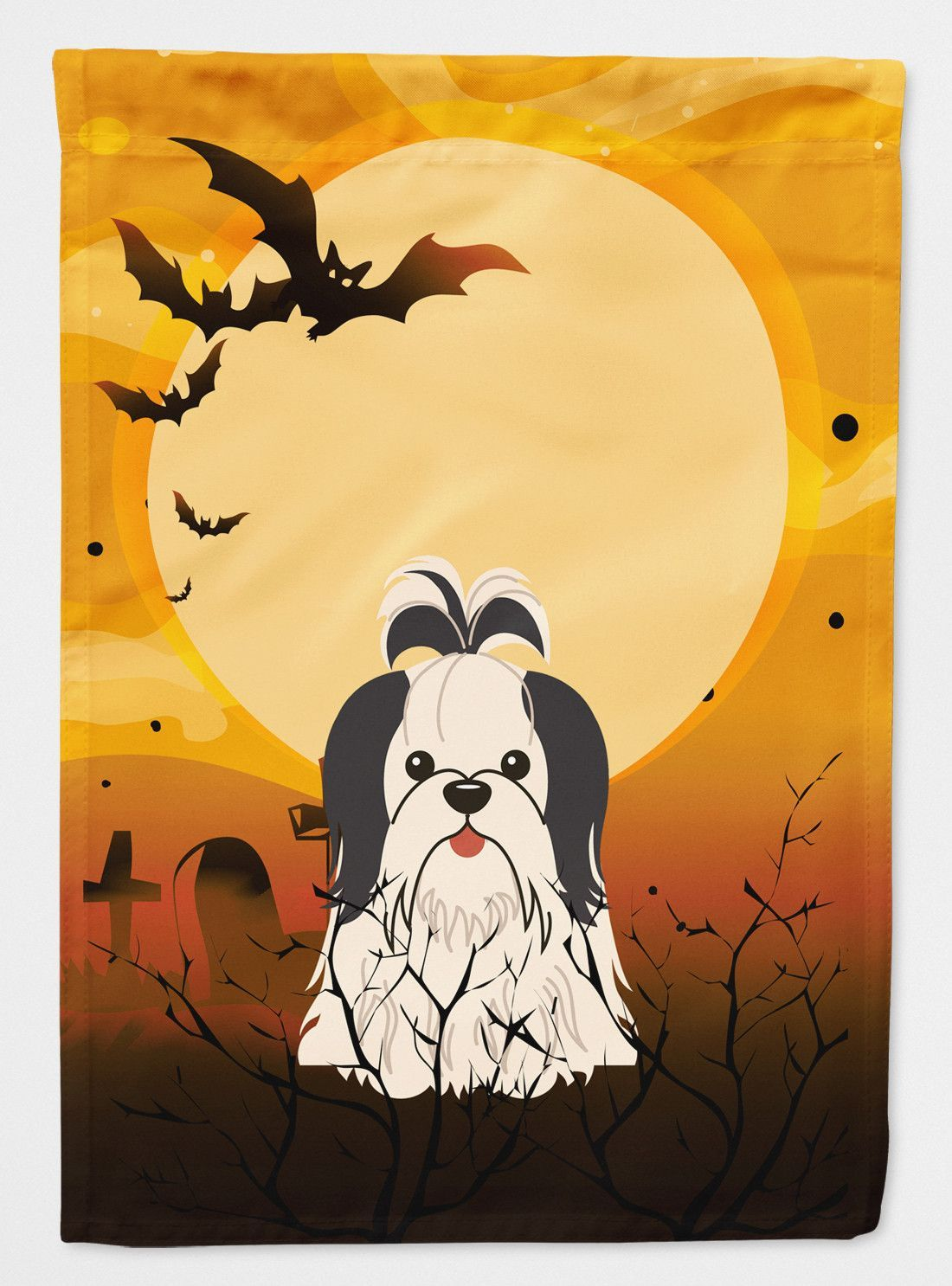Halloween Shih Tzu Black White Flag Canvas House Size BB4354CHF