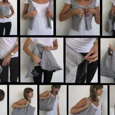 This is a bag or a woman vest that I found from Facebook. one think that has two functions. Looks simple but has lots of ideas in it.   hope I will be like that XD