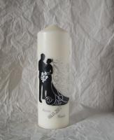 Hochzeitskerze- Brautpaar Silhouette - Artikeldetailansicht - Handgefertigte Kerzen Kaufen - Taufkerzen & Hochzeitskerzen Selbst Gestalten