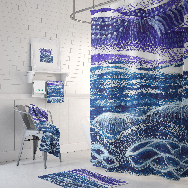 Storm At Sea Shower Curtain Set Teal And Purple Coastal
